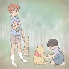 Kidlock: Sherlock and Mycroft with Pooh! My life will never be the same again lol!