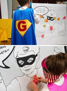 Superhero Party Games- have a superman emblem on sticker paper with each kids initial for pin the emblem on the superhero.