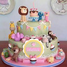 Safari Baby Shower Cake, Elephant Baby Shower Cake, Baby Shower Cakes, Fab Cakes, Cute Cakes, Africa Cake, Fondant Flower Cake, Fondant Bow, Fondant Tutorial