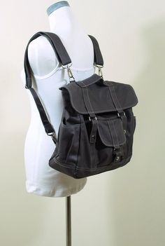 NOTTOC's SALE 15% OFF - Pico2  Wax Canvas Convertible Backpack in Dark Grey - Unisex Satchel / Messenger / Backpack. $69.00, via Etsy.