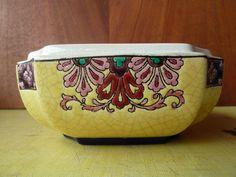 Ancienne bonbonnière en céramique de Longwy art populaire, french antique