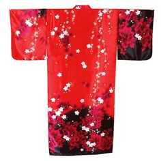 This Kimono is adorned with shades of Red Peony and White Cherry Blossoms against a stunning black and red background. Made in Japan, this traditional Japanese Kimono has butterfly styled sleeves and a matching belt.