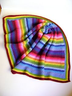 Technicolor Linen Baby Blanket - Third in a Series of Four - Looks Like Linen - Easy Crochet Pattern