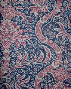 Indian Wallpaper An archive design with inspiration taken from an 18th century indienne design in blue and red