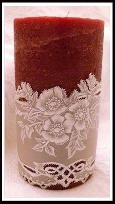 Sublimez vos bougies, encore une de nos créations : Avec Passion. Pergamano, Parchment Craft, Dentelle de Papier.