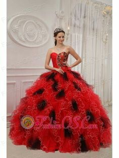 wholesale red and black ball gown sweetheart floor-length orangza beading and ruch quinceanera dress Black Quinceanera Dresses, Dama Dresses, Quince Dresses, Ball Gown Dresses, Sweet Sixteen Dresses, Sweet 15 Dresses, Sweet 16, Dresser, Cheap Gowns