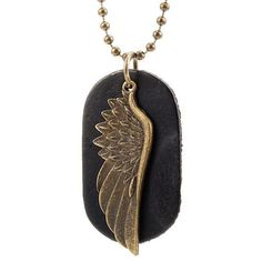 e475d8939db0 Men s Black Leather Necklace - Gold Metal Ball Chain with Dog Tag   Angel  Wing Pendants - Army Spiritual Style - Adjustable