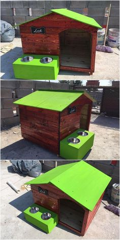 Dark brown color shaded wood pallet pet house will give your house space with the favorable eye-catching look. Here the planks of the wood pallet are combined together with one another as where the incorporation taste of the pet house in the midst of it will look so incredible.