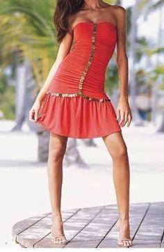 Victoria's Secret Moda International Gypsy Orange Salsa Dress Medium #ModaInternationalVictoriasSecret #StretchBodyconSundressBeachDress #SummerBeach