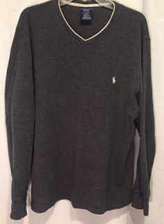 446d9c95ef5b POLO RALPH LAUREN 100% Cotton V Neck Sweater Gray Mens Size XLarge PONY    shop half