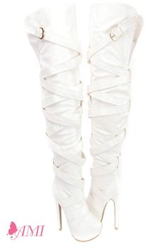 White Wrap Around Strap Thigh High Heel Boots Faux Leather