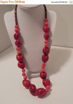 FALL SALE Boho Coral Necklace Chunky Red by GingersLittleGems