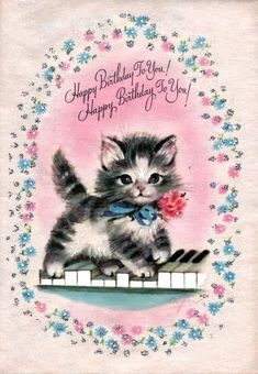 "101 Funny Cat Birthday Memes - ""Happy Birthday To You! Happy Birthday To You!""You can find Vintage birthday cards and more on our Funny Cat Birthday Memes - ""Happy B. Happy Birthday To You, Happy Birthday Vintage, Happy Birthday Greetings, Happy Birthday Kitten, Vintage Greeting Cards, Vintage Postcards, Cat Birthday Memes, Cat Birthday Cards, Funny Birthday"