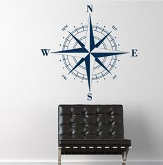 Compass Rose Nautical Vinyl Wall - use on ceiling above light fixture
