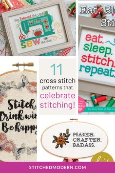 There is something extra fun about stitching about, well, stitching! These cross stitch patterns are a perfect way to indulge in the craft you love. Make them for yourself, or as gifts for your stitching friends!