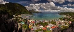 View on El Nido Bay, and city from one of the surrounding mountains (rocks)