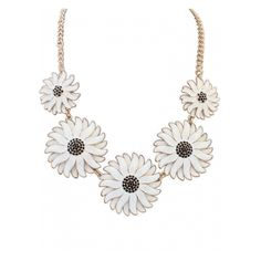 Colored Glaze Daisies Beautiful Necklace ($11) ❤ liked on Polyvore featuring jewelry, necklaces, daisy necklace, daisy jewellery and daisy jewelry