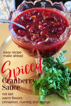 Easy holiday recipe for Spiced Cranberry Sauce that's NOT tart. Make ahead holiday recipe! Fresh Cranberry Sauce, Cranberry Relish, Relish Recipes, Pecan Recipes, Christmas Side Dishes, Easy Holiday Recipes, Cornbread Dressing, Turkey Sandwiches, Smoked Turkey