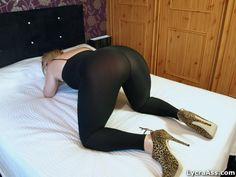 big ass wife in sheer lycra cat suit and heels - Lycra Ass