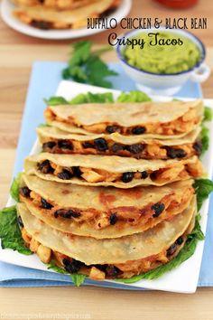 Buffalo Chicken and Black Bean Crispy Tacos #tacos #recipes