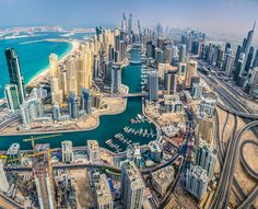 Pano shot from a helicopter. Dubai Island Marina. Via Joe Capra, www.airpano.com.