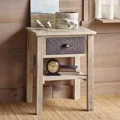 WINWOOD NIGHTSTAND - Reclaimed barn siding and vintage tin strips lend visual interest to this sturdy pine nightstand.