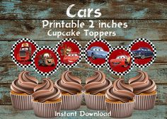 Cars cupcake toppers,  Dinsey Cars cupcake toppers,  Cars party supplies, DIY…