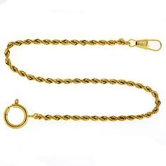 Paylak PC6-G 14″ Gold-Tone Pocket Watch Chain Fob Rope Link Design   Your #1 Source for Watches and Accessories