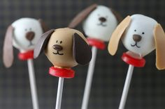 dog cake pops- @J O!!this is what Lincoln wants for his birthday! ;)