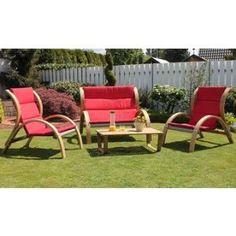salon de jardin bas rouge 4 personnes modle rustik ensemble comprenant 1 - Ensemble De Jardin