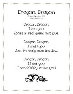 Year of the Dragon: Chinese New Year Poetry & Colouring! Preschool Poems, Kindergarten Poems, Preschool Activities, New Year Poem, New Years Song, Chinese New Year Activities, New Years Activities, Songs For Toddlers, Kids Songs