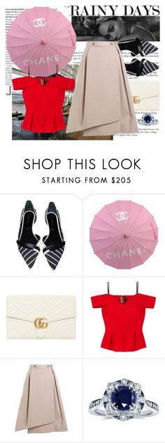 """Rainy Days"" by raincheck ❤ liked on Polyvore featuring Balmain, Sergio Rossi, Chanel, Gucci, Roland Mouret, Jil Sander Navy and Kobelli"