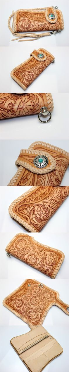 Floral Filigree Flower Vintage Wallet Hand Carved Tooled Leather Biker Wallet | eBay