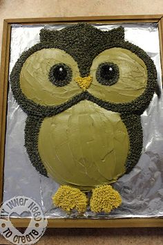 "Owl Cake out of 2 - 9"" round and 2 - 13"" round cakes"