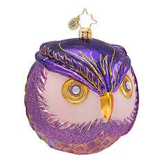 Christopher Radko Ornaments 2014   Radko Owl Christmas Ornament Wise One
