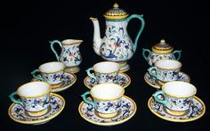 Rare MAJOLICA Expresso Coffee 15 Pc Set for 6 Marked DERUTA ITALY For Buitoni by amazinggrace, $450.00 USD #zibbet