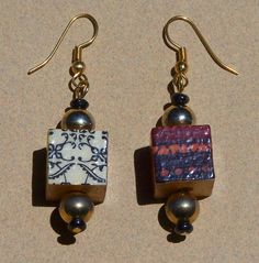 Earrings with wood image transfer beads by Carolyn Hasenfratz