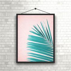 Tropical Leaf Print Mint Palm Art Palm Art Palm Leaves Art