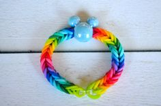 Micky!!! Rainbow Loom friendship bracelet rubber bands multicolor with a light blue Micky bead