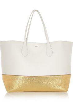 RochasTwo-tone textured-leather tote