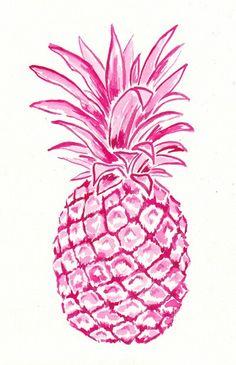 Pink Pineapple Art Print by Laura Dro Pineapple Art, Pineapple Drawing, Pinapple Decor, Pineapple Pictures, Pineapple Painting, Pineapple Tattoo, Pineapple Watercolor, Pineapple Wallpaper, Bunt