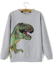 Dinosaur Patterned Print Loose Grey Sweatshirt