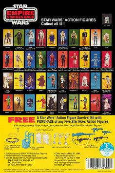 "Star Wars Action Figures: Collect All 41! Vintage Empire Strikes Back cardback from Kenner offering a ""Free Action Figure Survival Kit..."