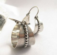 Sterling Silver Basket Earrings - Argentium Silver Hoop Earrings - Silversmith Jewelry - Basket Hoops on Etsy, $96.00