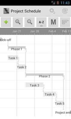 Project Schedule v1.9.1  Requirements: Android 2.0+  Overview: Project Schedule brings project management and task scheduling to your android tablet or phone. Use the app to create or import business projects or schedule tasks of your daily life.