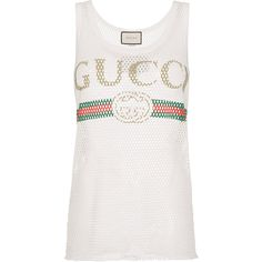 Gucci Fake Logo Tank Top (6 090 ZAR) ❤ liked on Polyvore featuring tops, white, loose tank top, white cotton tops, loose fit tank top, white sleeveless tank top and white top