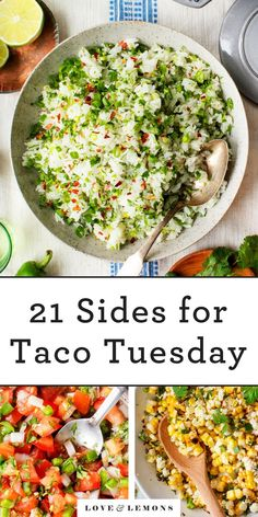 21 Sides to Spice Up Your Taco Tuesday! - Love and Lemons - - This cilantro lime rice is one of our favorite sides for tacos and other Mexican recipes! Taco Side Dishes, Mexican Side Dishes, Food Dishes, Side Dishes With Tacos, Healthy Mexican Sides, Sides With Tacos, Side Dish For Tacos, Salsa Guacamole, Taco Tuesday