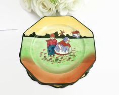 6 hand painted cake / sandwich plates with Dutch children, made in England, H&K Tunstall by CardCurios on Etsy Purple Wedding Cakes, Wedding Cakes With Flowers, Flower Cakes, Gold Wedding, Wedding Cake Designs, Wedding Cake Toppers, Vintage High Tea, Hand Painted Cakes, Elegant Cakes