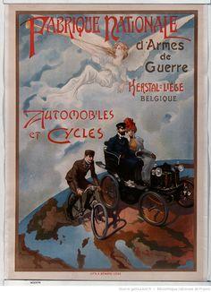 Fabrique nationale d'armes de guerre Herstal-Liège <mark class='highlightedText'>Belgique</mark> . Automobiles et cycles : [affiche] / [non identifié]