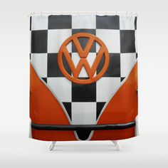 VW Checkers Shower Curtain by Alice Gosling - $68.00   #VW #Volkswagen #CamperVan #VWBus #Orange #BlackandWhite #Checkers #Chequers #Classic #Vintage #Retro #showercurtain #bath #bathroom #homedecor